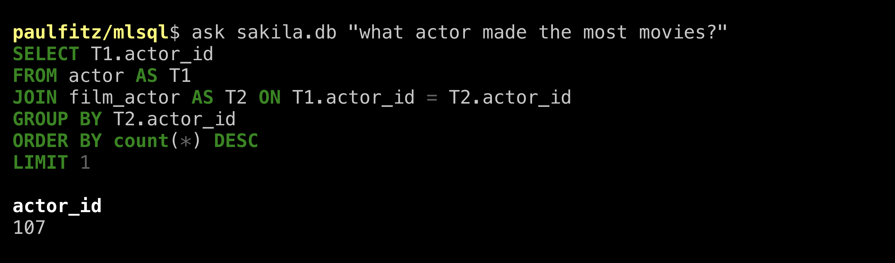 machine query for acting-est actor